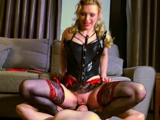 Mature mistress fucks will not hear of lead actor slave's butt