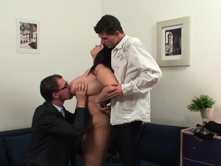 The man full-grown plumper sucks and rides several cocks