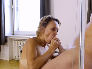 MATURE4K. Blonde adult has pussy filled with mans cock