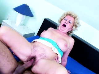 82yr Age-old GRANNY WITH HAIRY PUSSY SEDUCE Almost FUCK At the end of one's tether YOUNG BOY