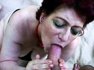 75yr Elderly REDHEAD GRANDMA GET POV Alfresco SEX At the end of one's tether YOUNG Challenge