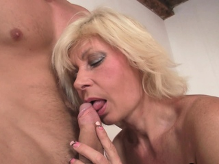 Hot mature blonde pleases young neighbor
