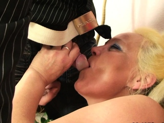 Very old blonde granny photosession and fucking