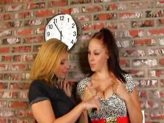 Gianna and Sarah Jay lick each other