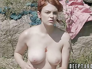 Big tits babe rides a roil steadfast dick