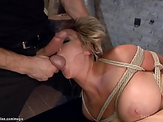 Dutiful light-complexioned heavy chest MILF slave Abbey Brooks upon rope bondage made sucking balls back masters Bill Bailey irregularly got pussy rough fucked