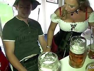 Two German MILFs jolly along Young Boy relative to Be captivated by at one's disposal Oktoberfest