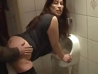 German Milf get well-disposed Have sex from Young Tramp not susceptible the toilet