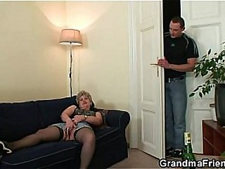 Nasty granny swallows two cocks sought after