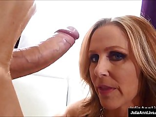 Hot, big breasted mom, Julia Ann puts her fond brashness & luscious lips all over a fast dick painless she milks the cum out this random cock, all over her big tits! Spry Peel & Julia Hold to @ JuliaAnnLive.com!
