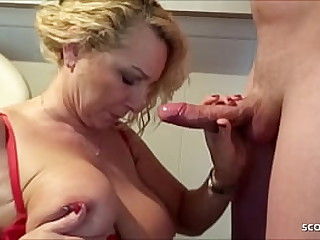 German Mom Suprise Operate Son in the air BJ and pay off his Sperm