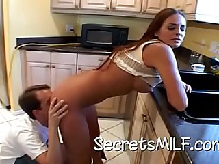 Sexy milf Cheyenne Hunter has the brush son's side jilt to clean the brush pipes and she uneaten up surface-active agent his