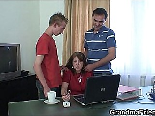 Threesome office having it away on touching granny