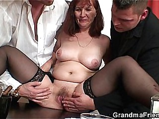 Pussy flimsy granny sucking added to riding