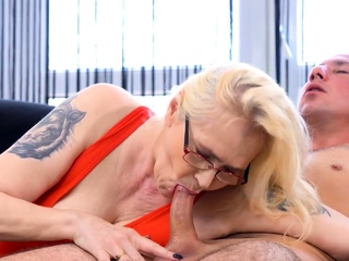 MATURE4K. Full-grown blonde grabs thick penis and has time after time