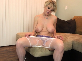Well rounded milf Maddie Vitiated fingers with respect to nylons