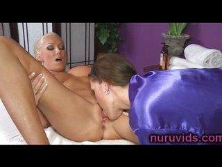 Gorgeous lesbian rub-down