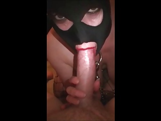 Hooded Submissive Slut In Spill & Swallow Repress