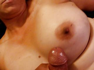 big cumshot on my titties