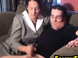 Mother In Front Gives A Handjob